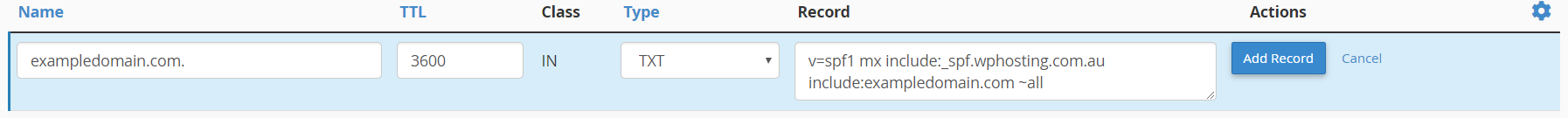 Add DNS TXT record within cPanel Zone Editor module