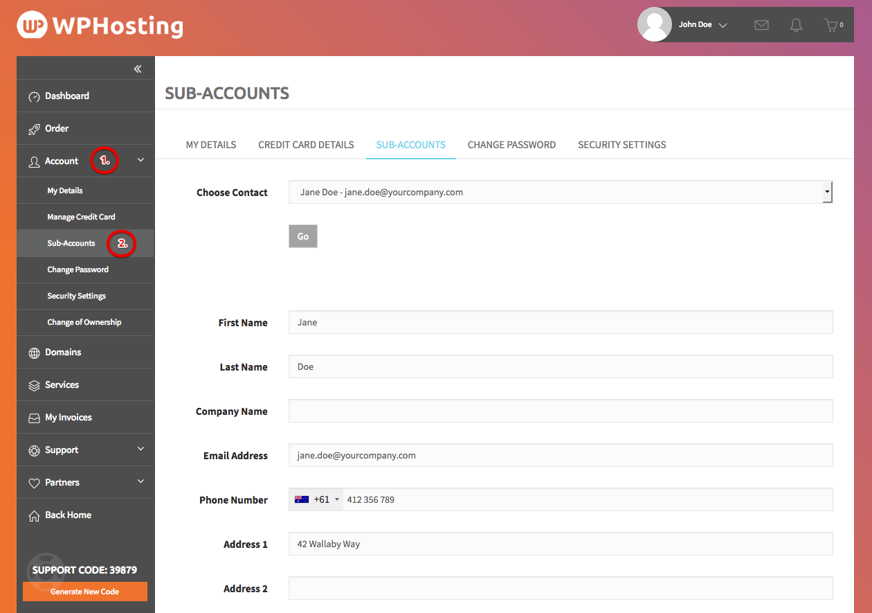 Add or modify additional contacts & sub-accounts within your customer profile area